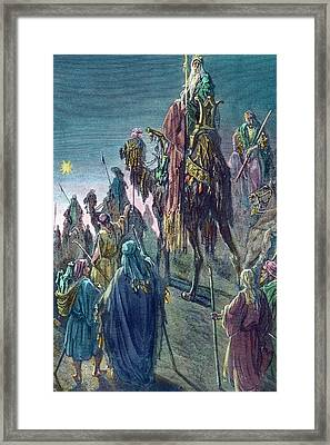 Three Kings  Christmas Card Framed Print by Gustave Dore