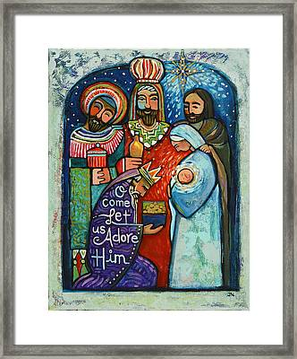 Three Kings O Come Let Us Adore Him Framed Print by Jen Norton
