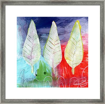 Three Leaves Of Good Framed Print by Linda Woods
