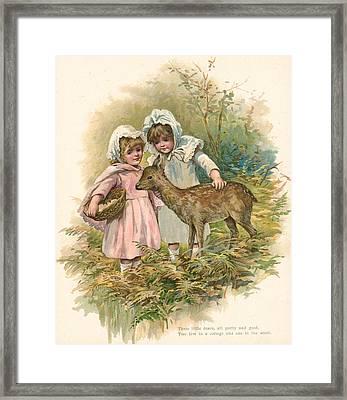 Three Little Dears Framed Print by English School