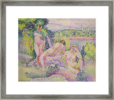 Three Nudes Framed Print by Henri Edmond Cross