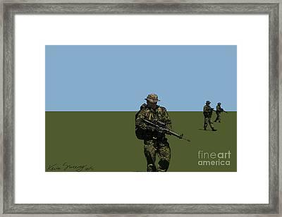 Three On Patrol Framed Print by Kevin Sweeney