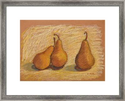 Three Pears Framed Print by Phyllis Tarlow