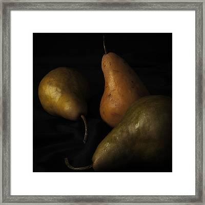 Three Pears Framed Print by Richard Rizzo