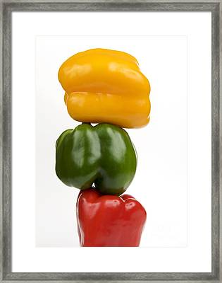 Three Peppers Framed Print by Bernard Jaubert