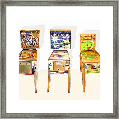 Three Pinball Machines 20160226 Square Framed Print by Wingsdomain Art and Photography