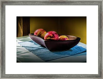 Three Red Apples In A Bowl Framed Print by Randall Nyhof