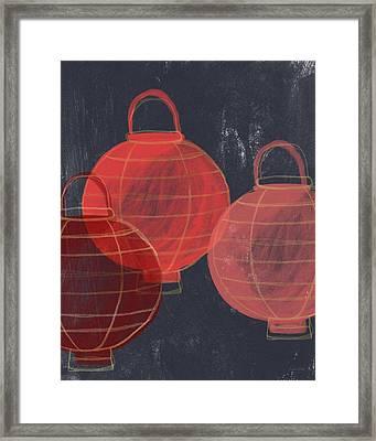 Three Red Lanterns- Art By Linda Woods Framed Print by Linda Woods