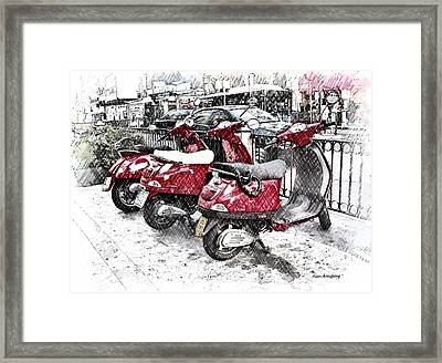 Three Red Scooters Framed Print by Alan Armstrong