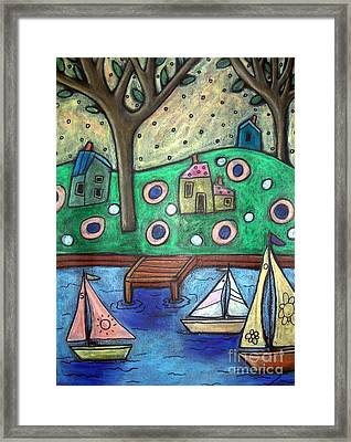 Three Sailboats Framed Print by Karla Gerard