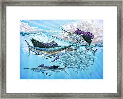 Three Sailfish And Bait Ball Framed Print by Terry  Fox