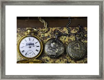Three Train Pocket Watches Framed Print by Garry Gay
