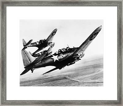 Three U.s. Navy Dauntless Dive Bombers Framed Print by Everett