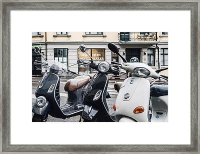 Three Vespas In The Rain Framed Print by Aldona Pivoriene