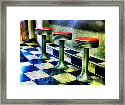 Three White Steamer Stools Framed Print by Julie Dant