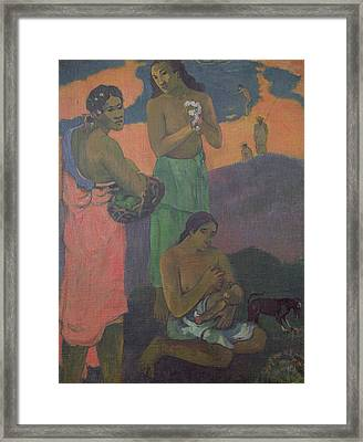 Three Women On The Seashore Framed Print by Paul Gauguin