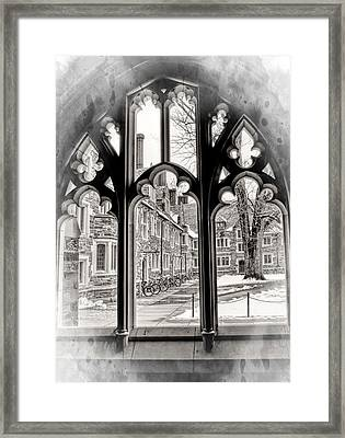 Through A Gothic Framed Window At Princeton University Framed Print by Geraldine Scull