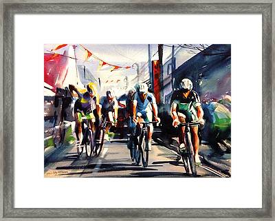 Through The Town Framed Print by Shirley Peters