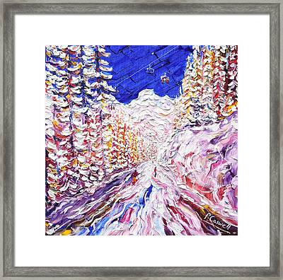 Through The Trees Les Arcs 1600 Framed Print by Pete Caswell