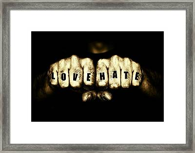 Thugs Love And Hate Tattoo Fists Framed Print by John Williams