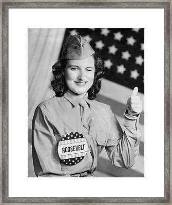 Thumbs Up For Roosevelt Framed Print by Underwood Archives