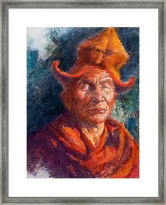 Tibetan Monk Framed Print by Ellen Dreibelbis