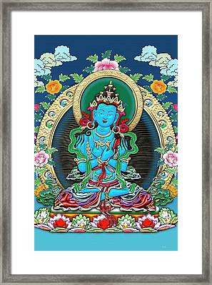 Tibetan Thangka  - Vajradhara -  Dharmakaya Buddha Framed Print by Serge Averbukh