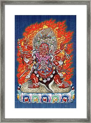 Tibetan Thangka  - Wrathful Deity Hayagriva Framed Print by Serge Averbukh