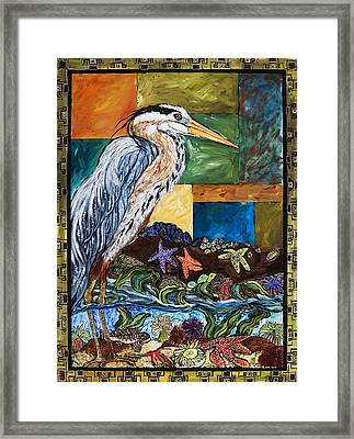 Tidepool Heron Framed Print by Melissa Cole