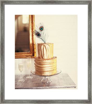 Tiered Cake With Peacock Feathers On Top Framed Print by Gillham Studios