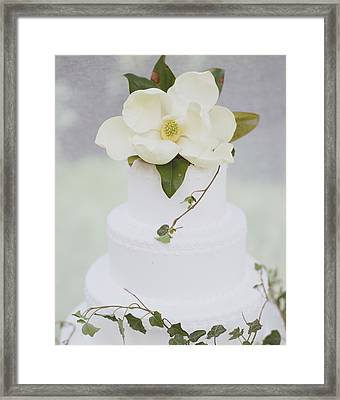 Tiered Wedding Cake With Flower On Top Framed Print by Gillham Studios