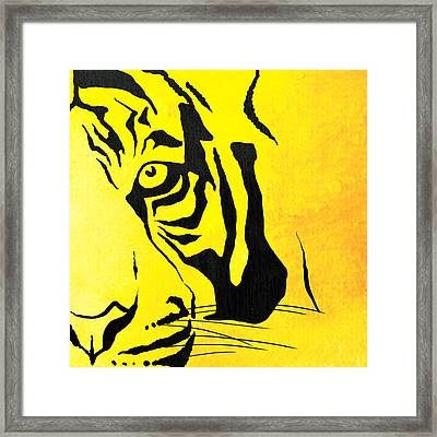 Tiger Animal Decorative Black And Yellow Poster 7 - By  Diana Van Framed Print by Diana Van