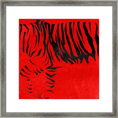 Tiger Animal Decorative Red Poster 2 - By Diana Van Framed Print by Diana Van