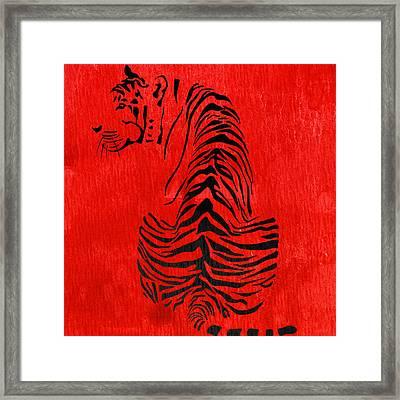 Tiger Animal Decorative Red Poster 4 - By Diana Van Framed Print by Diana Van