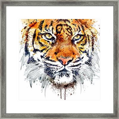 Tiger Face Close-up Framed Print by Marian Voicu