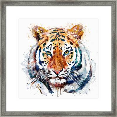 Tiger Head Watercolor Framed Print by Marian Voicu
