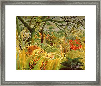 Tiger In A Tropical Storm Framed Print by Henri Rousseau