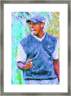 Tiger One Two Three Painting Digital Golfer Framed Print by David Haskett
