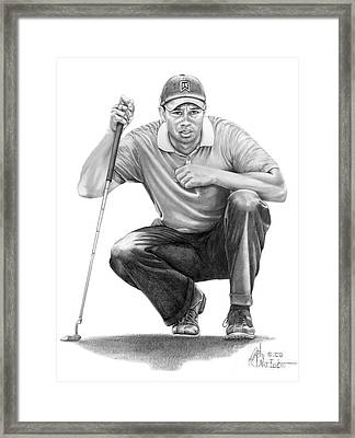 Tiger Woods Crouching Tiger Framed Print by Murphy Elliott