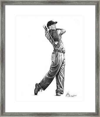 Tiger Woods Full Swing Framed Print by Murphy Elliott
