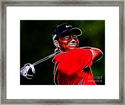 Tiger Woods Framed Print by Paul Ward