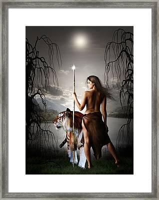Tigress Warrior Of The Moon Framed Print by Julie L Hoddinott