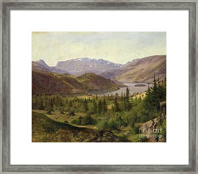 Tile Fjord Framed Print by Louis Gurlitt