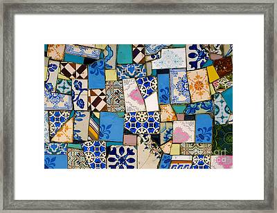 Tiles Fragments Framed Print by Carlos Caetano
