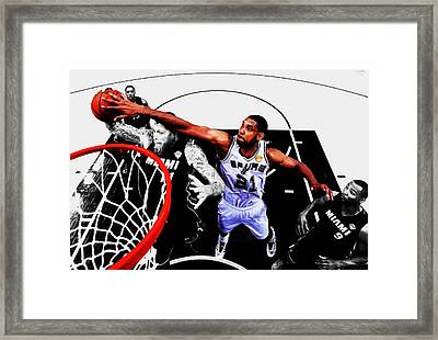 Tim Duncan And The Birdman Framed Print by Brian Reaves