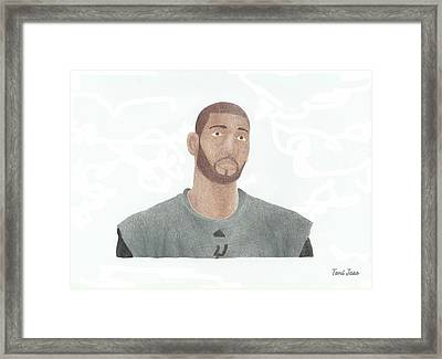 Tim Duncan Framed Print by Toni Jaso