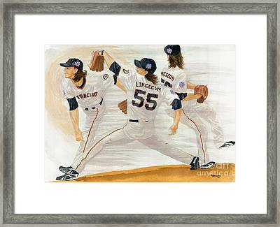 Tim Lincecum Study 2 World Series Framed Print by George  Brooks