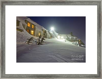 Timberline Lodge Mt Hood Snow Drifts At Night Framed Print by Dustin K Ryan