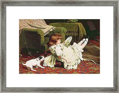 Time To Play Framed Print by Charles Burton Barber
