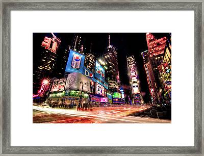 Times Square 2010 New Year Neon Framed Print by Josh Liba